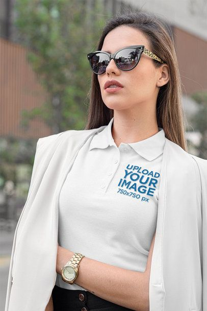 Polo Shirt Mockup Featuring an Elegant Woman 33534