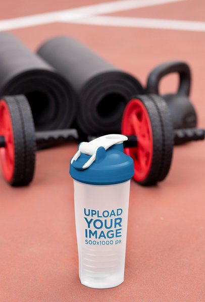Blender Bottle Mockup Placed by Ab Wheels and Sport Mattresses 33679