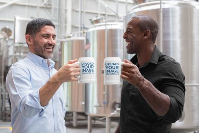 20 oz Beer Stein Mockup Featuring Two Friends at a Brewery 33457