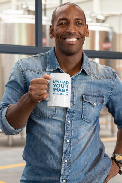 Mockup of a Smiling Man Holding a Beer Stein 33425
