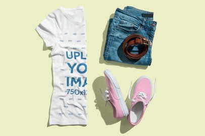 Mockup of a Woman's Outfit with a T-Shirt Folded by Half 3739-el1