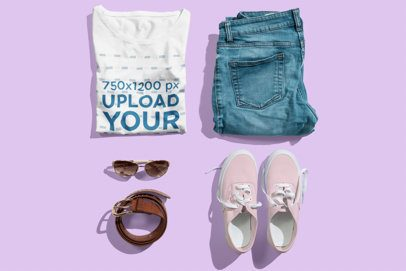 Mockup of a Cool Girly Outfit with a Folded T-Shirt 3742-el1