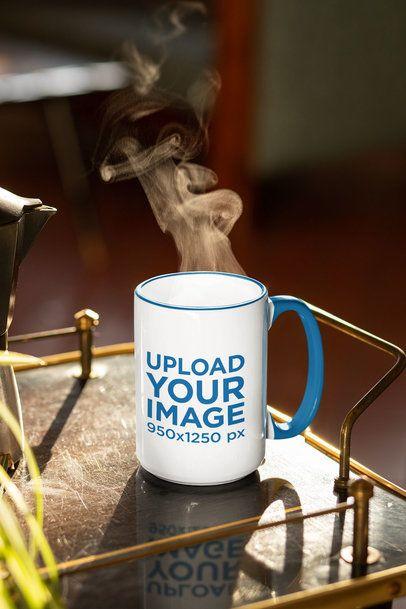 Mockup of a 15 oz Coffee Mug with a Color Rim 33671