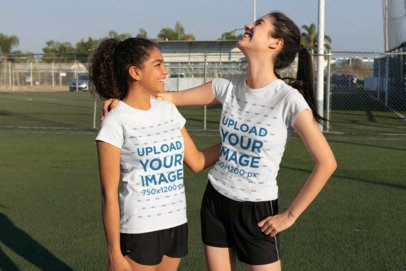 T-Shirt Mockup of Two Girls Enjoying Soccer Training 33559