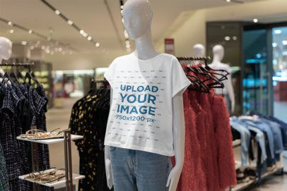 T-Shirt Mockup Featuring a Mannequin in a Clothing Store 3711-el1
