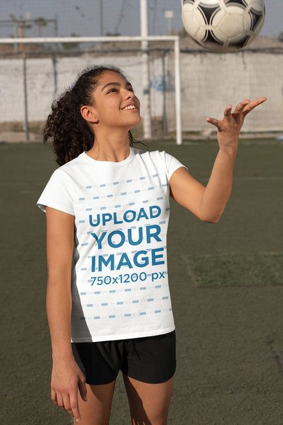 T-Shirt Mockup of a Girl at Soccer Training 33578