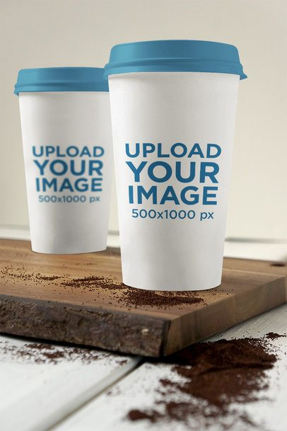 Mockup Featuring Two Coffee Cups Placed on a Wooden Board 3797-el1