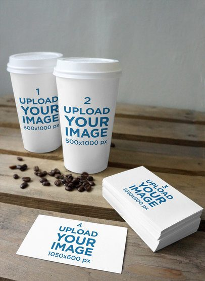 Mockup Featuring Two Coffee Cups and Some Business Cards on a Rustic Wooden Table 3790-el1