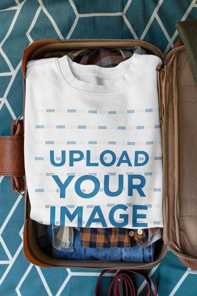 Mockup Featuring a Crewneck Sweatshirt Inside a Suitcase 33714