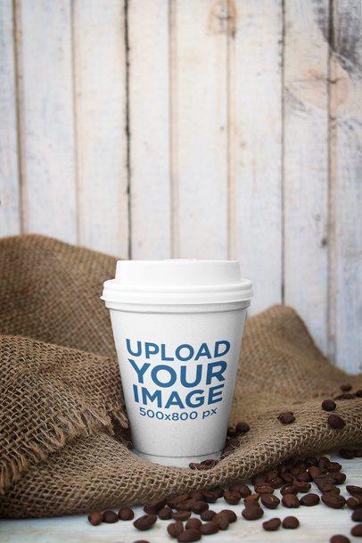 Coffee Cup Mockup Featuring a Jute Sack 3755-el1