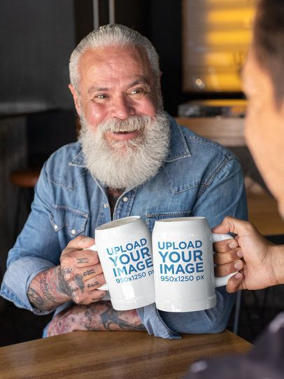 Mockup of a Smiling Senior Man Clinking His Beer Stein 33447