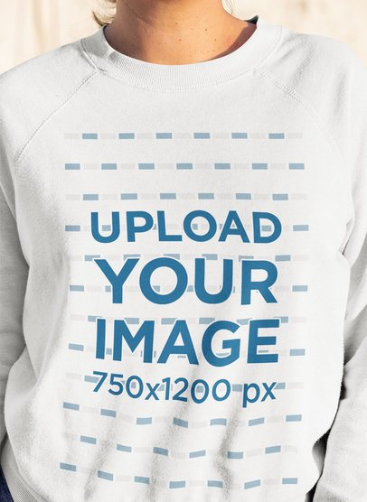 Closeup Mockup of a Woman Wearing Crewneck Sweatshirt 33717