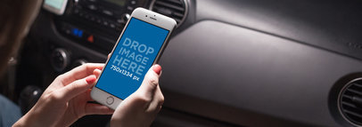 White iPhone Mockup of a Young Woman Riding in a Car a12801
