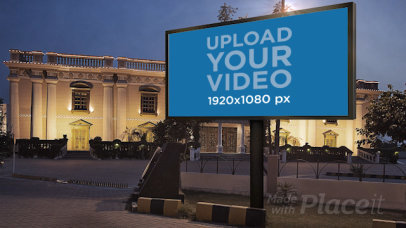 Video of a Billboard Placed Outside of a Fancy Building 34382