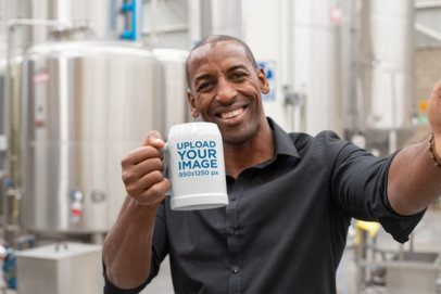 Selfie Mockup of a Man with a Beer Stein at a Factory 33450