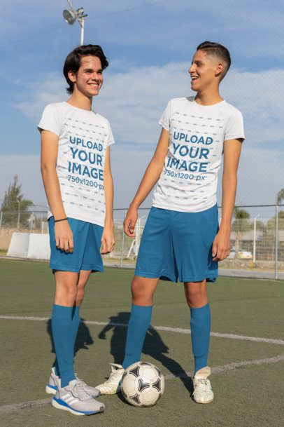 Mockup of Two Friends with Soccer T-Shirts 33581