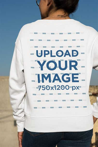 Back View Mockup of a Woman with a Neck Tattoo Wearing a Crewneck Sweatshirt 33973