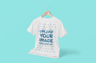 Mockup of a T-Shirt on a Hanger Featuring a Customizable Background 3719-el1