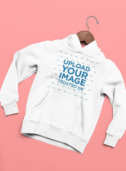 Flat Lay Mockup Featuring a Pullover Hoodie with a Wooden Hanger 33894