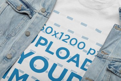 Close-up View Mockup of a T-Shirt Surrounded by a Denim Garment 33950