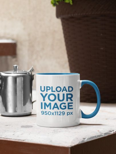 Mockup of an 11 oz Mug Placed Next to a Metal Teapot 33819