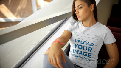 T-Shirt Video of a Woman Looking Through the Window 12985