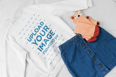 Mockup of a Crewneck Sweatshirt for Girls 33757