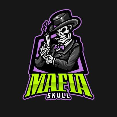 Gaming Logo Generator Featuring a Mafia Skeleton with a Gun 1210b-el1