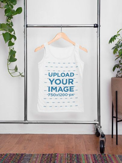 Mockup of a Hanged Tank Top Inside a Home  33841