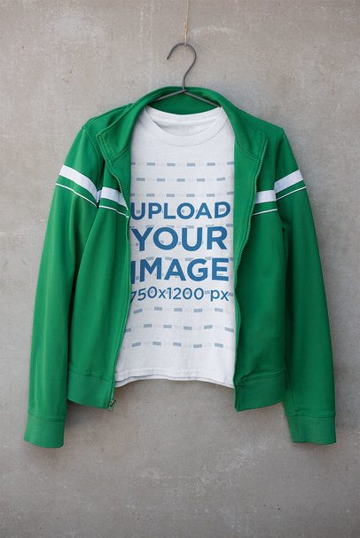 T-Shirt Mockup Featuring a Green Jacket 33687