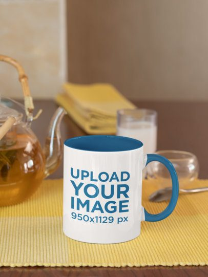 Mockup of an 11 oz Coffee Mug with Colored Rim on a Table 33828