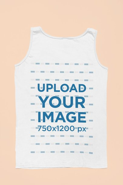Back-View Mockup of a Tank Top Flat Laid Against a Solid Surface 33703