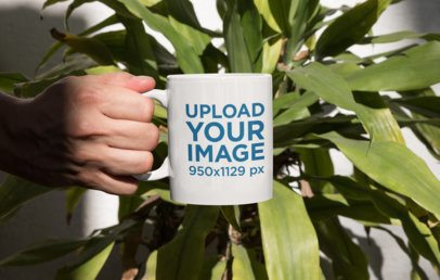 Mockup of a Person Holding an 11 oz Mug in Front of a Plant 33919