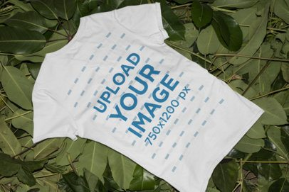 Mockup of a T-Shirt on a Surface Made of Leaves 33859