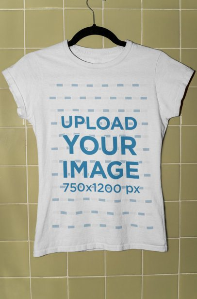 Mockup of a Women's T-Shirt Mockup Hanged on a Tiled Wall 33861
