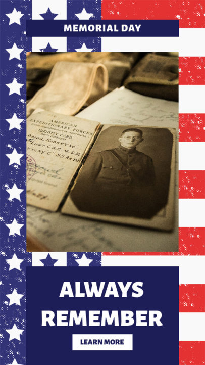 Memorial Day Instagram Story Template With Patriotic Graphics 2483a