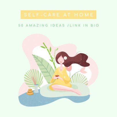 Instagram Post Creator for Self-Care Ideas Featuring Cute Illustrations 1148-el1