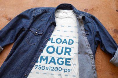 Crew Neck T-Shirt Mockup Featuring a Denim Garment 33867