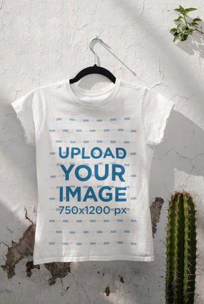 Mockup of a T-Shirt Hanging By a Cactus 33863
