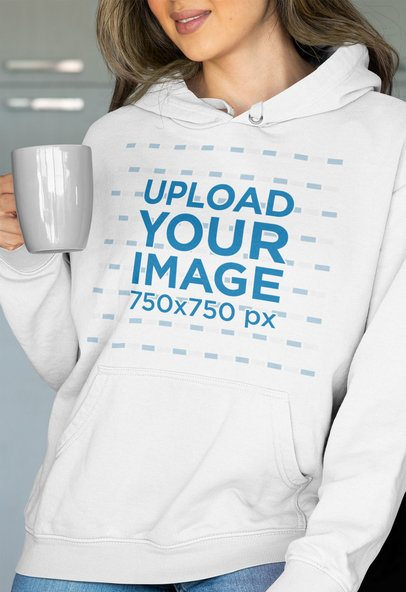 Pullover Hoodie Mockup of a Woman Holding Her Beverage 33893