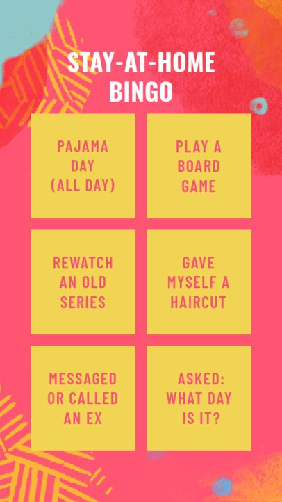Instagram Story Creator for a Self-Isolation Bingo Challenge 2514c