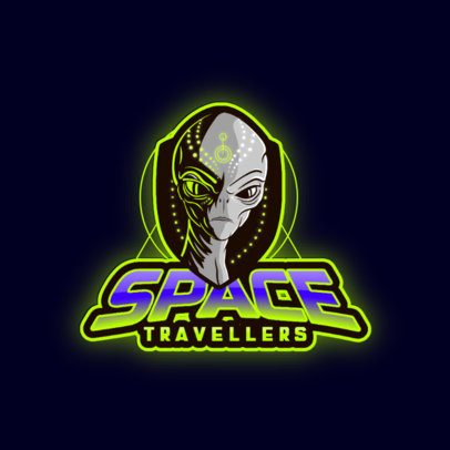 Gaming Logo Template with a Space Traveller Character 3204j