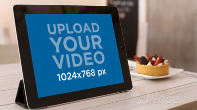 iPad Video Featuring a Woman Eating a Dessert 9607