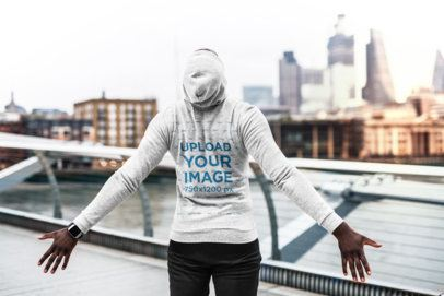 Hoodie Mockup of a Man with Open Arms Looking at the City 34124-r-el2