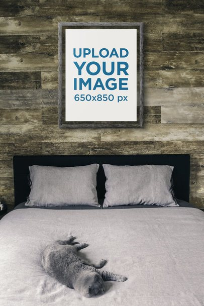 Art Print Mockup Featuring a Cat on a Bed 3945-el1