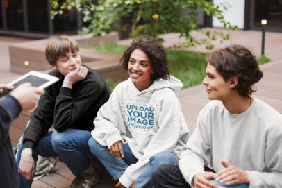 Hoodie Mockup of a Young Woman Hanging out With Friends 34149-r-el2
