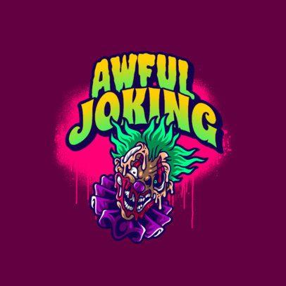 Gaming Logo Maker Featuring a Creepy Clown Illustration 3233