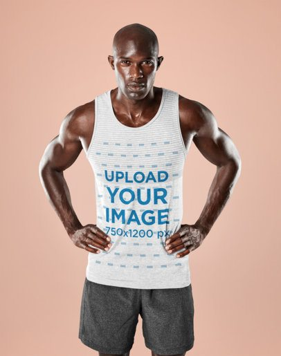 Mockup of a Fit Man Wearing a Tank Top in a Studio 34057-r-el2