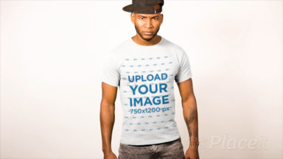T-Shirt Mockup Featuring a Man with a Serious Look 13521