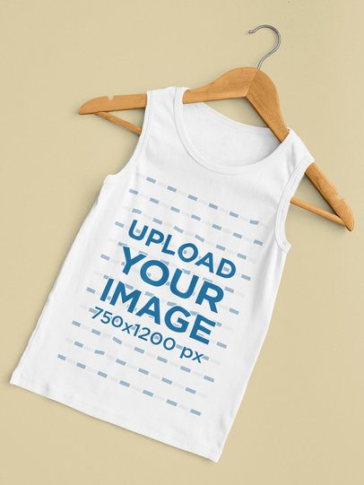Mockup of a Scoop Neck Tank Top for Children 33852
